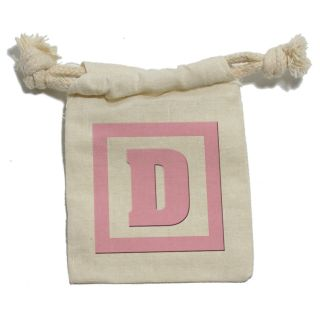 Letter D Initial Baby Girl Block Pink Shower Cotton Gift Party Favor Bags