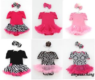 2pcs Newborn Baby Girl Headband Romper Dress Clothes Outfit Black Zebra 6 9M