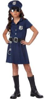 Police Officer Girls Fancy Dress Costume with Accessories 5 Piece Set Size s M L