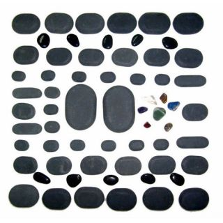 Sivan 60 Piece Basalt Lava High Polish Hot Stone Massage Kit