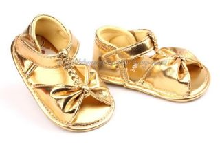 Toddler Baby Girl Gold Sandals Crib Walking Shoes Size 3 6 6 9 9 12 Months