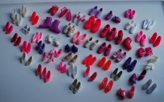 Barbie Pink Purple White Shoe Lot Some Vintage Open Toe Sandals Sneakers 49 Pair