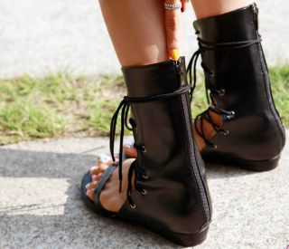 New Arrival Faux Leather Lace Up Mid Calf Boots Sandal Thong Sandal Gladiator