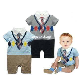 1pc Baby Boy Kid Top Pants Formal Romper Jumpsuit Tie Outfit Clothes Bodysuits