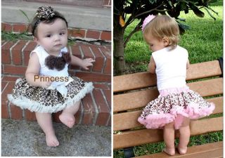 2pcs Baby Girl Kids Tutu Dress Top Skirt Brown Dress Leopard Clothes 1 2T Y