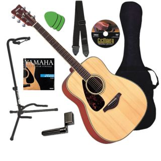 Yamaha FG720SL Left Handed Natural Acoustic Guitar Essentials Bundle