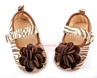 Baby Girls Zebra Print Soft Sole Flowers Shoes Size 1 2 3