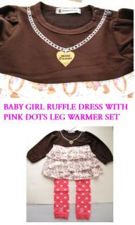 Baby Girl Formal Ruffle Dress Pink Leg Warmer Set 6 21M