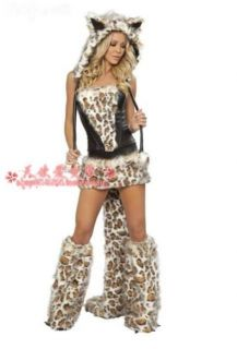 Sexy Cheshire Cat Woman Halloween Costume Top Skirt Leg Warmers Cat Tiger
