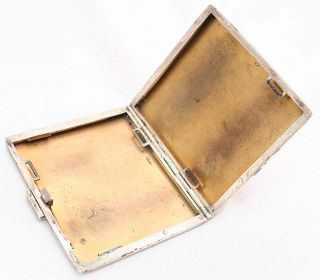 Antique French Art Deco Silver Cigarette Box Case 1920s