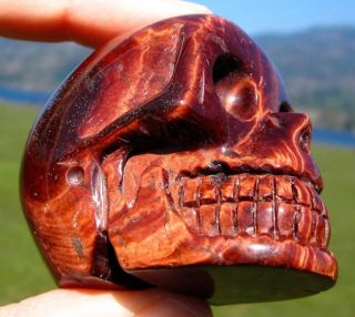 Chatoyant Red Fire Tiger Eye Hand Carved Gemstone Crystal Skull Africa