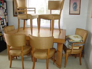 Heywood Wakefield Blonde Mid Century Modern Dining Table Chairs