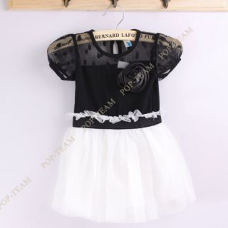 Kids Toddlers Girls White Black Flower Princess Tutu Mini Dress 2 7Y Lovely TYB9
