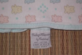 Carters Today's Classics Vintage Cotton Knit Baby Blanket Pastel Bears Lovey