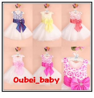 2014 Baby Flower Girl Christening Pageant Party Dress Birthday Clothes Gift 3 8T