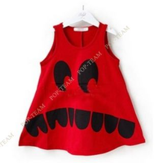 2013 Fashion Kids Baby Girl Toothy Smiling Sleeveless Long Dress Back Skirt TYG4