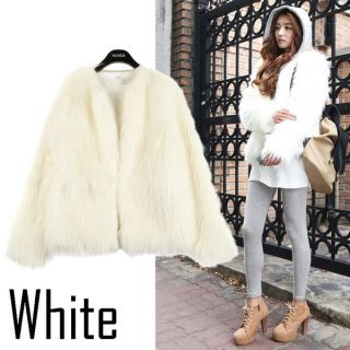 Fashion Womens Stylish Long Hair Coat Faux Fur Long Sleeved Jacket Z373 1