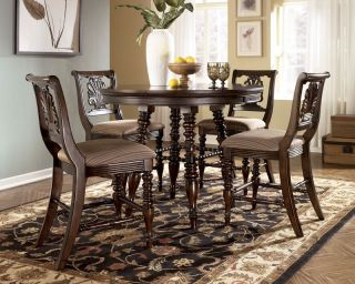 Barbados 5pcs Traditional Round Counter Height Dining Table Chairs Pub Set New