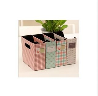 1XDIY Floral Dot Grid Paper Storage Box Desktop Finishing Box Organizer Box