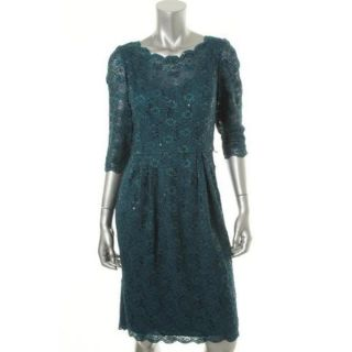 Alex Evenings Green Lace 3 4 Sleeves Party Cocktail Dress 16 BHFO