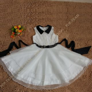 Lovely White Wedding Flower Girl Bridesmaid Dresses Party Birthday 6 13Y TYF8