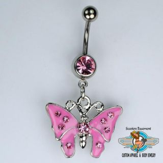Butterfly Dangle Belly Ring Bar Pink Gemstone Butterfly Navel Ring 14g A15