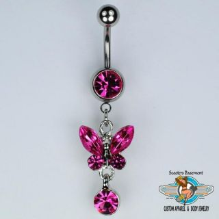 Pink Jeweled Butterfly Dangle Belly Ring 14 Gauge A12