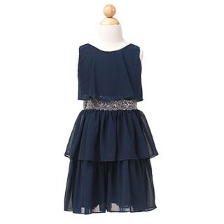 Sweet Kids Girls 8 Navy Tiered Chiffon Christmas Flower Girl Dress