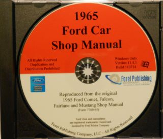 1965 Ford Mustang Falcon Comet Fairlane Shop Service Manual CD ROM