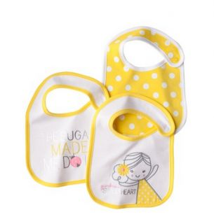 Just One You by Carters Baby Girl 3 Feeding Bibs Yellow White Polka Dot