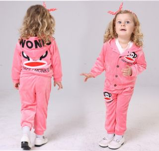 Cute Baby Girl Winter Fall Monkey Outfit Set Suit Coat Outerwear T Shirt Clothes