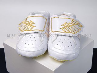New Toddler Baby Boy White Silver Golden Sneakers Shoes US Size 2 3 4
