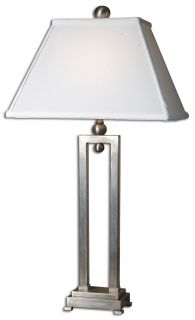 Modern Silver Metal Table Lamp Contemporary Rectangular Bell Shade Lighting New