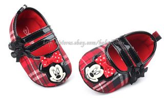 Toddler Baby Girl Red Plaid Minnie Mouse Crib Shoes Size 0 6 6 12 12 18 Months