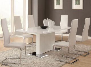 5pc Havarti Modern White Chrome Metal Dining Table Set w White Black Chairs