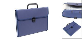 Button Closure Dark Blue Plastic Document Holder Organizer 13 Slot Briefcase