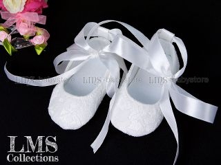 New Toddler Baby Girl White Lace Mary Jane Baptism Shoes Size 2 A894