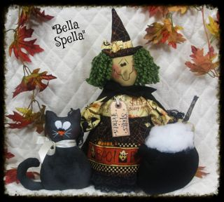 "Primitive ""Bella Spella"" w Her Black Cat Cauldron Standing Halloween Witch"