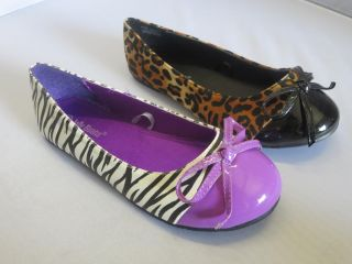 Girl Flats Zebra or Leopard Colorblock Nata Flower Girl Pageant Dress Shoes