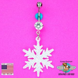 Glitter Snowflake Dangle Belly Ring Bar Clear Double Gem Christmas Navel Ring