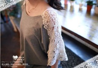 New Fashion Women Sexy Girl Cute Lace Cotton Short Sleeve Top Blouse T Shirt