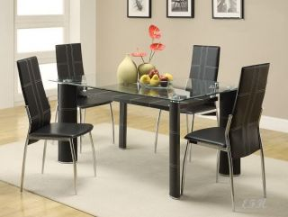 5pc Modern Glass Black Leather Chrome Dining Table Set