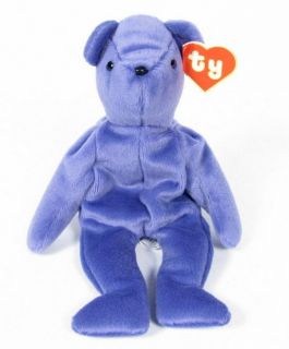 Candy Spelling's Beanie Baby Old Face Violet Teddy Bear 1993 1st Gen Tush Tag