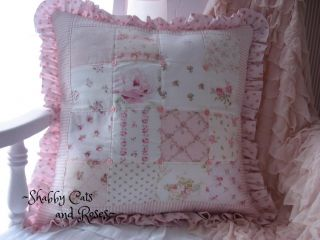 Lower Price Quilted Patchwork Roses Pillow Rachel Ashwell Vintage Pink Buttons
