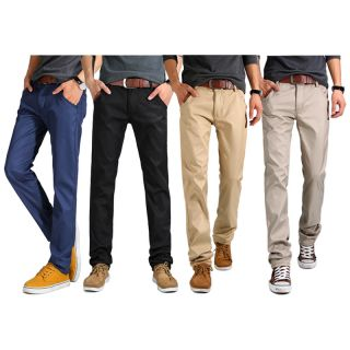 Mens Casual Full Cotton Fashion Straight Trousers Winter Thickening Velvet Pants