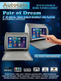 Grey Autotain Dream 9 inch Digital Touch Screen Car Headrest DVD Players Monitor