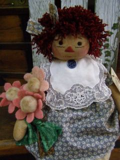 Primitive Raggedy Annie Doll Folk Art Raggedy Ann Civil War Print Dress Doily