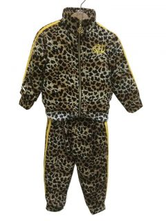 Toddler Baby Boys Girls Leopard Tracksuit Jacket Pants Hip Hop Outerwear