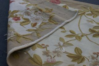3'x10' Handmade Wool French Floral Aubusson Flat Weave Runner Rug Brand New