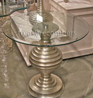 Art Deco Silver Leaf Glass Top Pedestal End Table